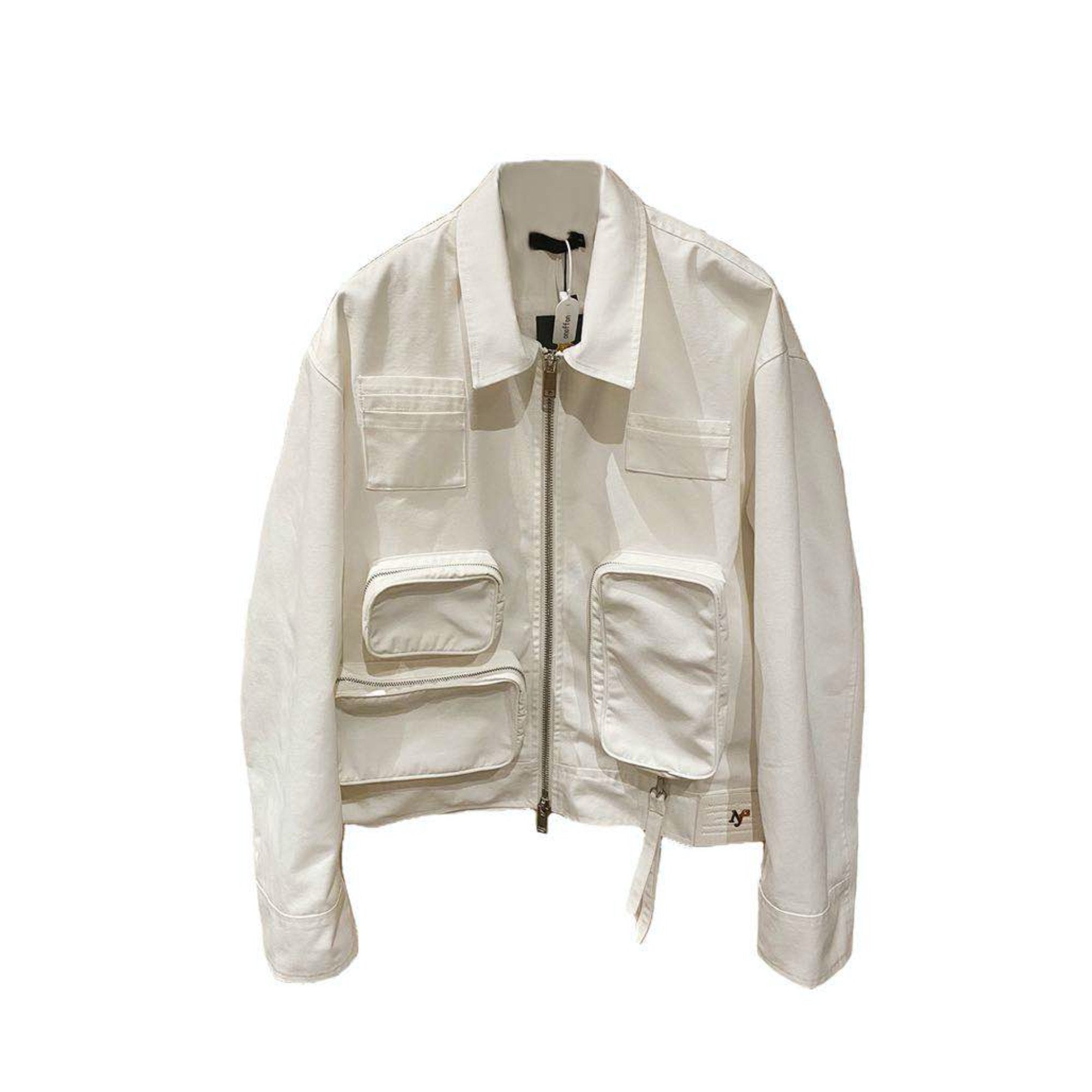 ONOFFON White Pocket Leather Jacket | MADA IN CHINA