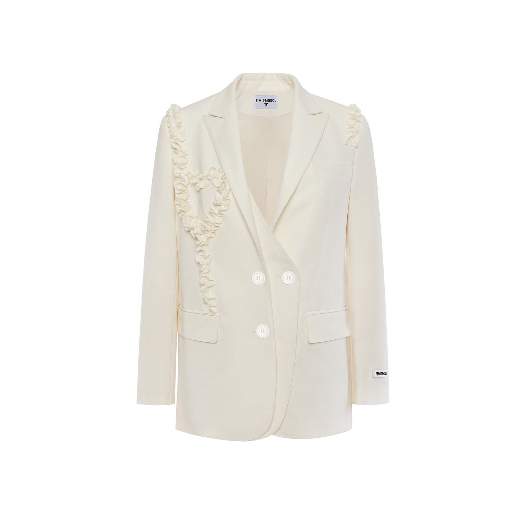 EIMISMOSOL White Ruffle Blazer Jacket | MADA IN CHINA
