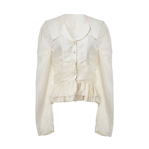 ELYWOOD White Ruffle Collar Shirt | MADA IN CHINA