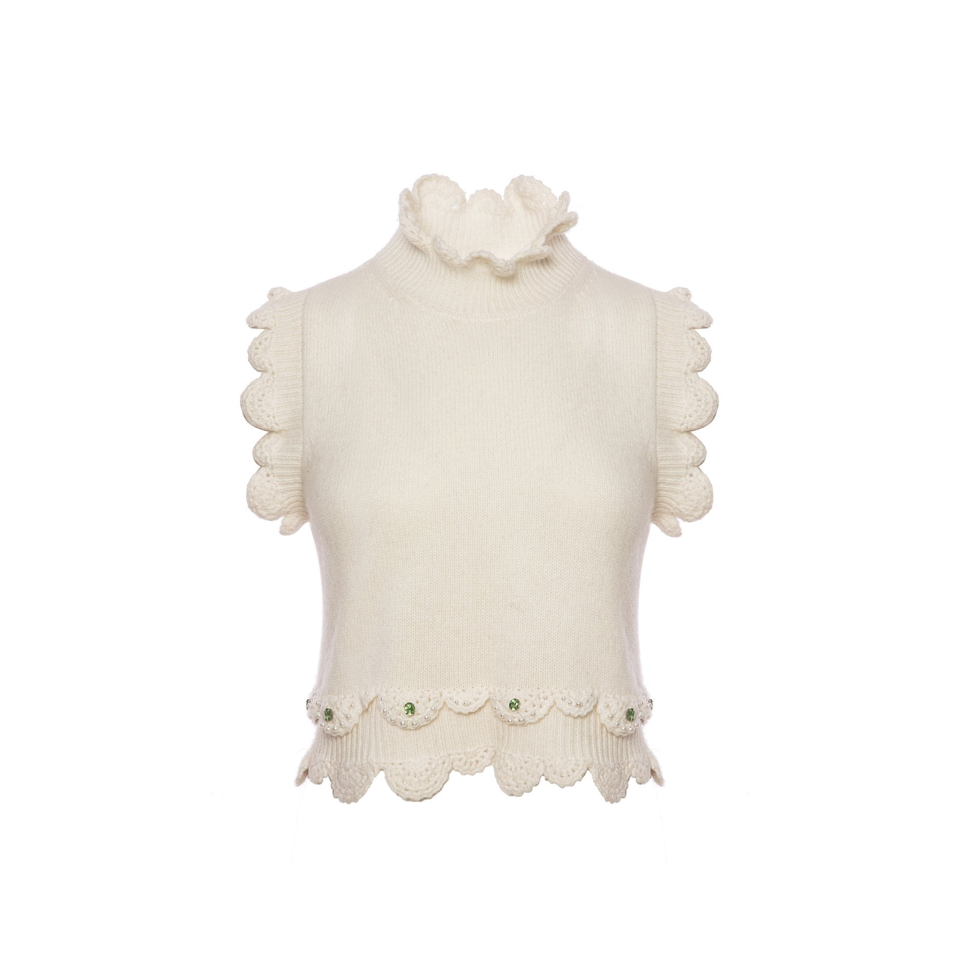 DIANA VEVINA White Ruffled Vest | MADA IN CHINA
