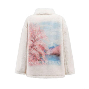 ANDREA MARTIN White Sakura Fur Jacket | MADA IN CHINA