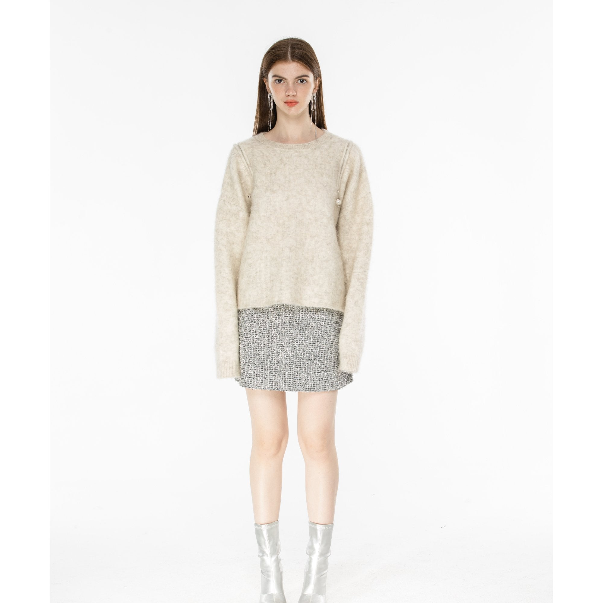 DIANA VEVINA White Shoulder Zipped Mohair Sweater | MADA IN CHINA