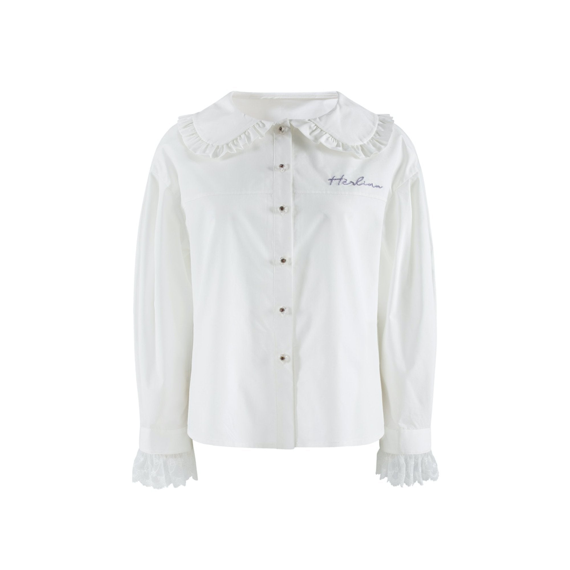 HERLIAN White Signature Logo Bubble Sleeve Shirt | MADA IN CHINA