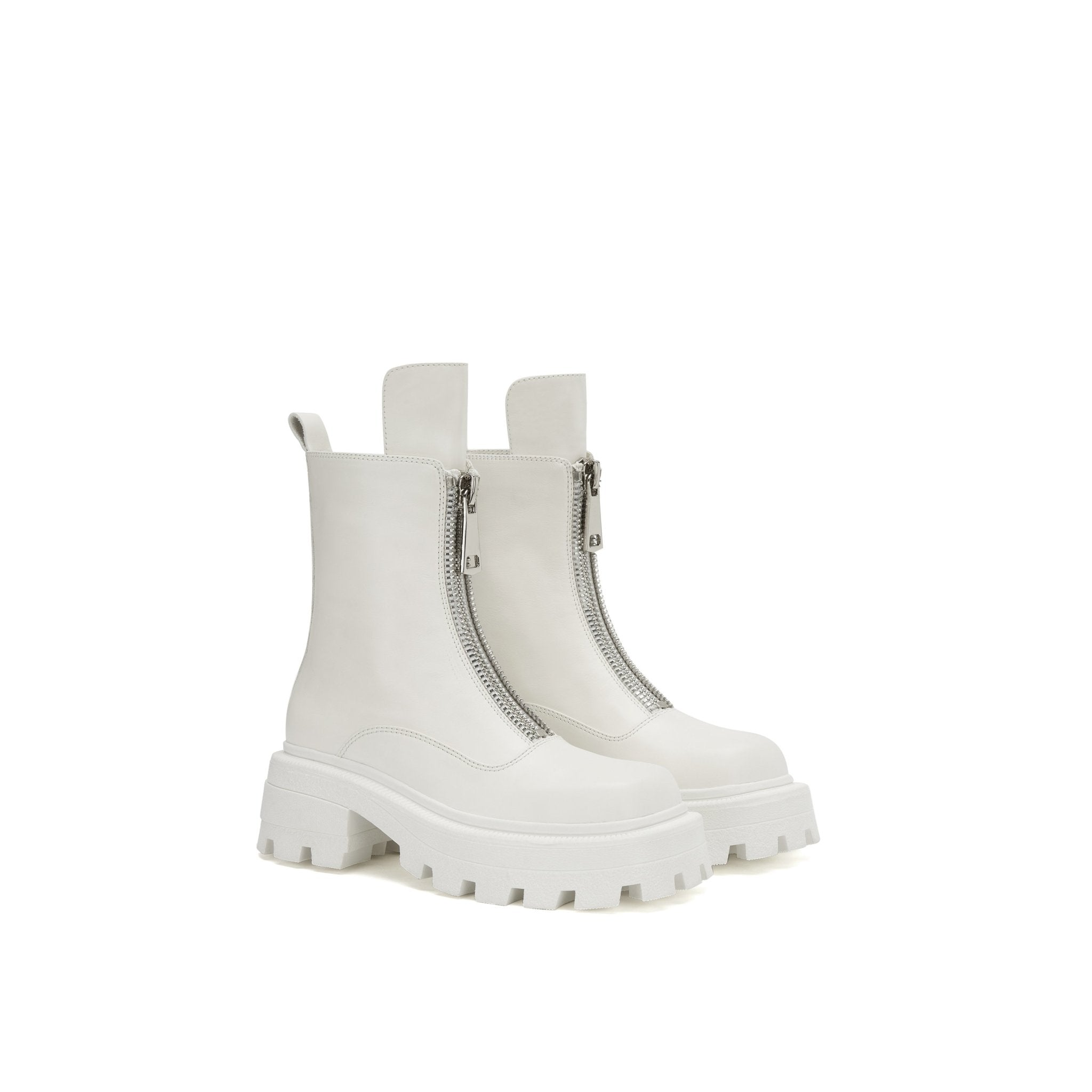 LOST IN ECHO White Square Toe Zip Boots | MADA IN CHINA