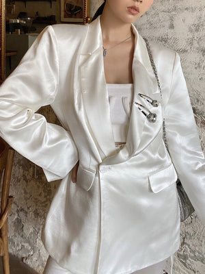 WARM AID White Triacetate Suit Jacket | MADA IN CHINA