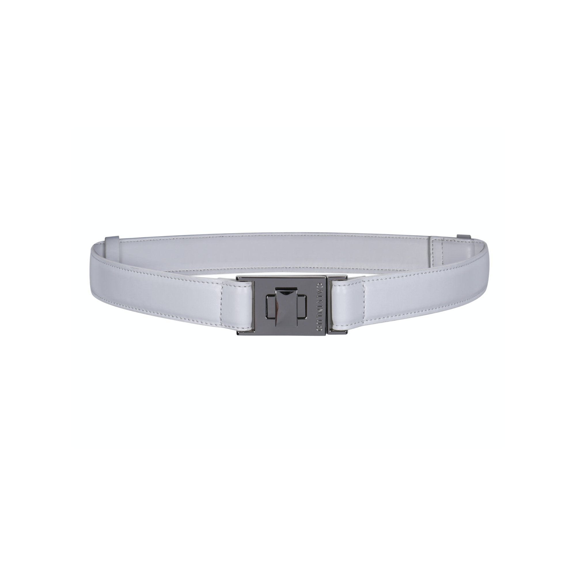 CALVIN LUO White Twist-Lock Leather Belt | MADA IN CHINA