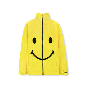 AIMME SPARROW Yellow Smiling Face Zip Jacket | MADA IN CHINA