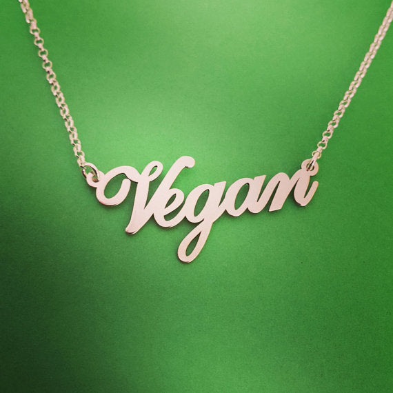 Silver Plated Letters Vegan Necklace - LookVegan