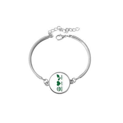 """Peace Love Vegan"" Symbol Bracelet - LookVegan"