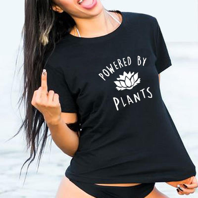 """Powered By Plants"" Vegan T-Shirt Black / XX-Large - LookVegan"