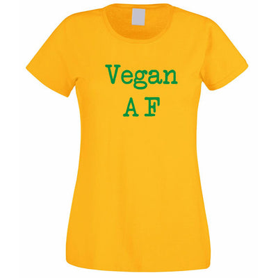"""Vegan AF"" Hipster T-Shirt Gold / Small - LookVegan"
