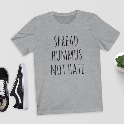 """Spread Hummus Not Hate"" Funny Vegan T-Shirt Gray / Large - LookVegan"