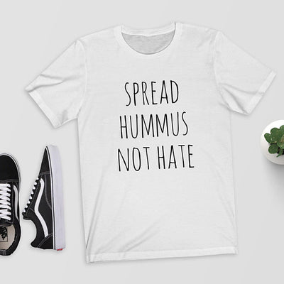 """Spread Hummus Not Hate"" Funny Vegan T-Shirt White / Large - LookVegan"