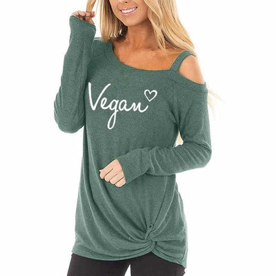 Designer Oblique Shoulder T-Shirt Green / XX-Large - LookVegan