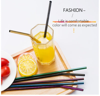 4-Piece Colorful Stainless Steel Reusable Straws - LookVegan