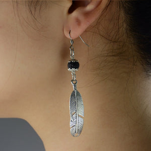 Lava Stone Feather Pendant Diffuser Earrings - Global Shipping - Use THANKYOU for 20% off Entire Order.
