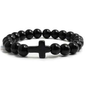 Cross Charm Lava Stone Bracelet - Global Shipping - Use THANKYOU for 20% off Entire Order.
