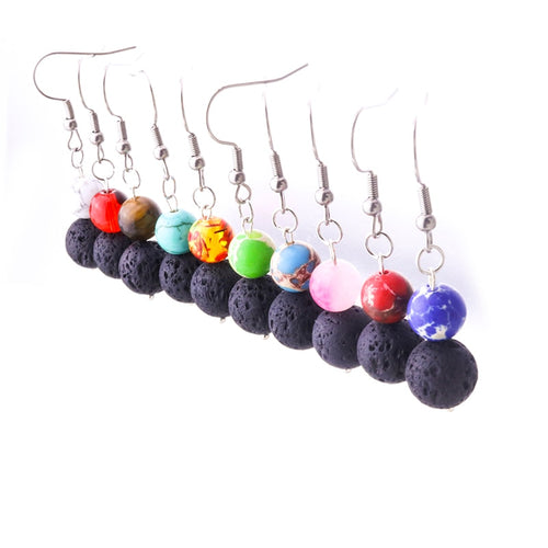 Multi color Lava Stone Earrings - Global Shipping - Use THANKYOU for 20% off Entire Order.