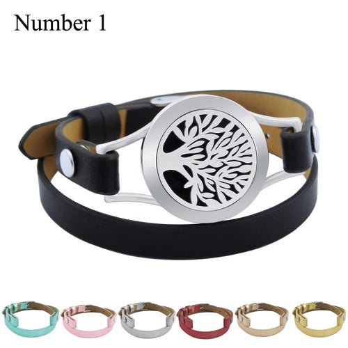 Genuine Leather Stainless Steel Oils Aromatherapy Locket Bracelet - Global Shipping - Use THANKYOU for 20% off Entire Order.