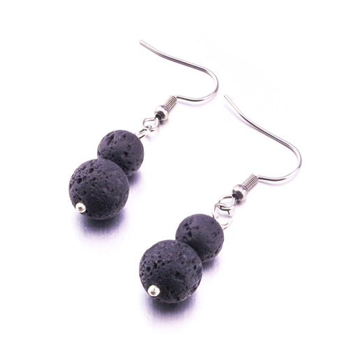 Lava Stone Ball Dangle Earrings - Global Shipping - Use THANKYOU for 20% off Entire Order.