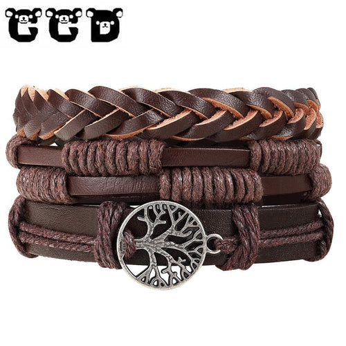 4pcs/set Charm Leather Bracelet - Global Shipping - Use THANKYOU for 20% off Entire Order.