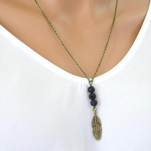 Lava Stone Feather Pendant Diffuser Necklace - Global Shipping - Use THANKYOU for 20% off Entire Order.