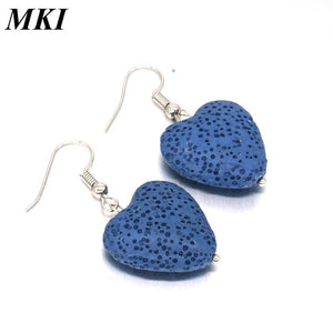 Love Heart Lava Stone Earrings - Global Shipping - Use THANKYOU for 20% off Entire Order.