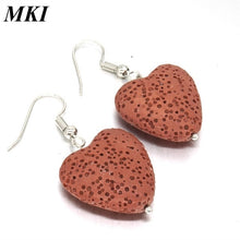Load image into Gallery viewer, Love Heart Lava Stone Earrings - Global Shipping - Use THANKYOU for 20% off Entire Order.