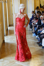 Load image into Gallery viewer, Ewa Stepaniuk red evening dress, designer, corset, red dress, sexy, lace, deep cut, dolce&gabbana, haute coture, versace, fashion, Alexander McQueen, dior, chanel, luxurious wedding, Platinum Palace Hotel Wrocław, Paris Fashion Week, Arab Fashion Week