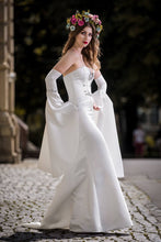 Load image into Gallery viewer, Wedding dress, satin, sleeves, corset, haute courure, designer
