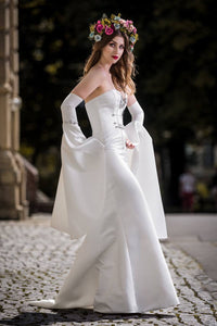 Wedding dress, satin, sleeves, corset, haute courure, designer