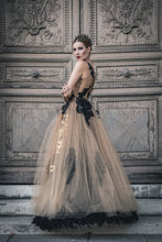 Load image into Gallery viewer, High-Quality Luxurious Golden Tulle Gown, Ewa Stepaniuk Couture, Wedding, evening, lace gold dress, stunning, gown, haute couture, designer, exclusive, luxury, Swarovski crystals,  luxurious wedding, Platinum Palace Hotel Wrocław, Paris Fashion Week, Arab Fashion Week
