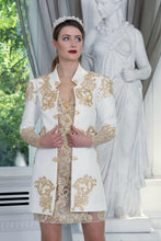 Load image into Gallery viewer, Ewa Stepaniuk Couture, Wedding, evening, ivory jacket gold lace, gold lace dress, stunning, gown, haute couture, designer, exclusive, luxury
