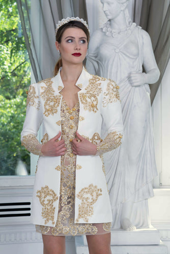 Ewa Stepaniuk Couture, Wedding, evening, ivory jacket gold lace, gold lace dress, stunning, gown, haute couture, designer, exclusive, luxury, Swarovski crystals,  luxurious wedding, Platinum Palace Hotel Wrocław