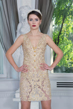 Load image into Gallery viewer, Ewa Stepaniuk Couture, Wedding, evening,  gold lace dress, stunning, gown, haute couture, designer, exclusive, luxury