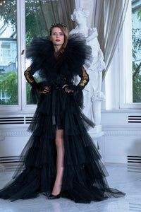 Ewa Stepaniuk Couture, Wedding, evening, black tulle coat, stunning, gown, haute couture, designer, exclusive, luxury, Swarovski crystals,  luxurious wedding, Platinum Palace Hotel Wrocław