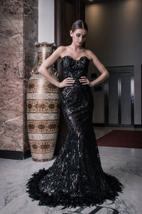 Evening dress, black lace, lace, feathers, stunning, gown, haute couture, designer, dark queen, exclusive, luxury
