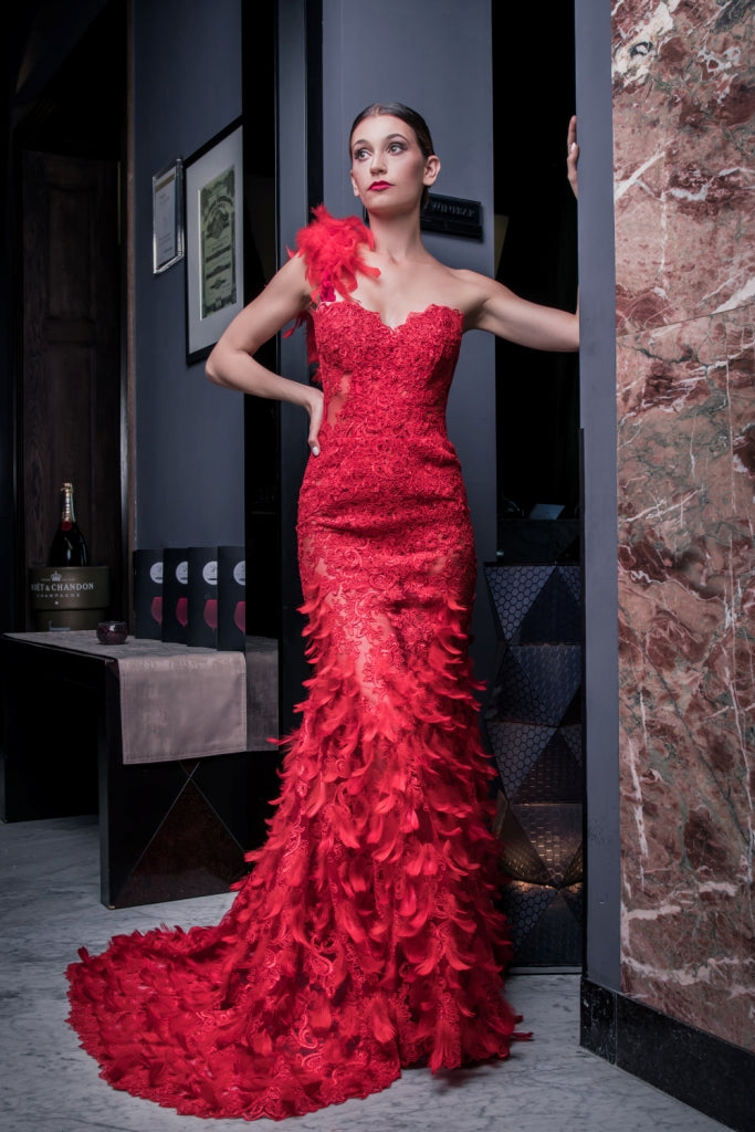 Ewa Stepaniuk red evening dress, designer, corset, red dress, sexy, lace, deep cut, dolce&gabbana, haute coture, versace, fashion, Alexander McQueen, dior, chanel