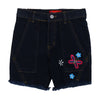 Flowers Denim Short For Girls - Dark Blue (GS-008)