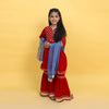 Gota Fancy Gharara 3 PCs Suit For Girls - Red (GS-010)
