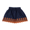 Laser Embroidery Denim Skirt For Girls - Navy Blue (GS-019)
