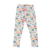 Flowers Printed Tights For Girls - Off White (GT-021)