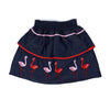 Flamingo Embroidery Denim Skirt For Girls - Dark Blue (GS-017)
