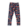Flowers Printed Tights For Girls - Navy (GT-029)