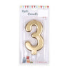 Happy Birthday No 3 Numeric Candle - Gold (NC-012)
