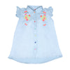 Butterfly Embroidery Top For Girls - Sky Blue (CT-045)