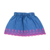 Laser Embroidery Denim Skirt For Girls - Ice Blue (GS-018)