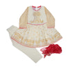 Fancy Screen Print 3 PCs Suit For Girls - Off White (GS-015)