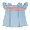 Chest Embroidery Top For Girls - Sky Blue (CT-044)