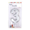 Happy Birthday No 3 Numeric Candle - Silver (NC-015)